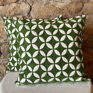 green geometric pillow
