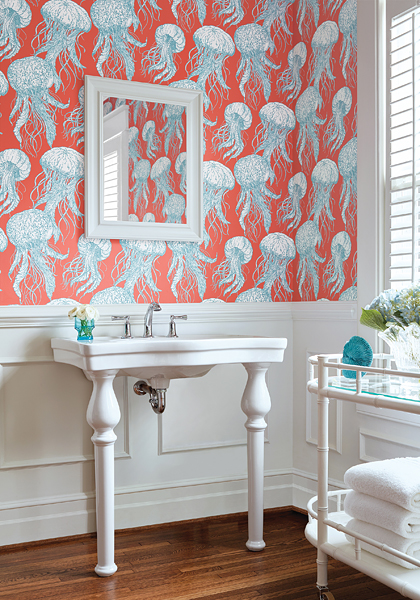 Wallpaper jellyfish in bathroom with white board and batten and shutters
