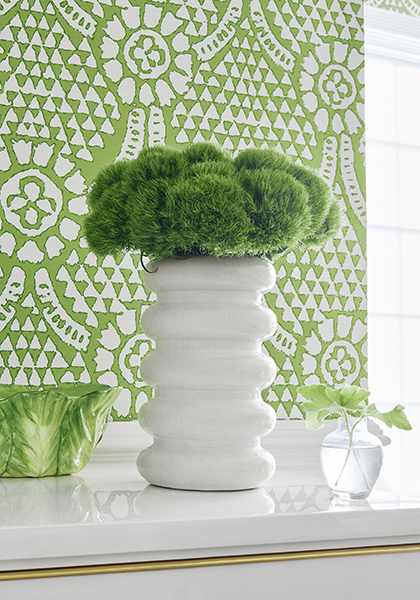 White lacquer furniture with gold accents- Decorative display of greenery- Kelly green and white patterned wallpaper by Thibaut- Impressive Windows and Interiors - Hastings, MN