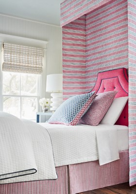 Bedding canopy headboard and quilt all created with Thibaut fabric- Impressive Windows & Interiors - Hastings, MN