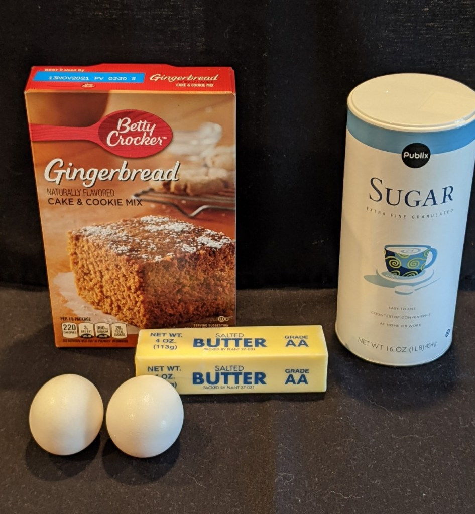 Ingredients: Gingerbread Cake Mix, 2 eggs, butter and sugar for sprinkling on top.
