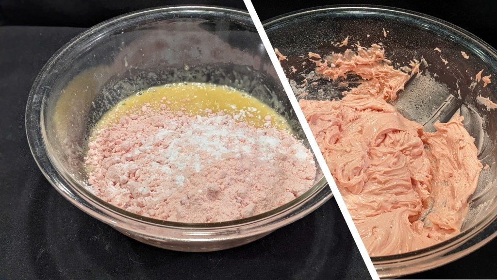 Add cake mix and baking powder to egg mixture and mix until well combined (no cake mix lumps)