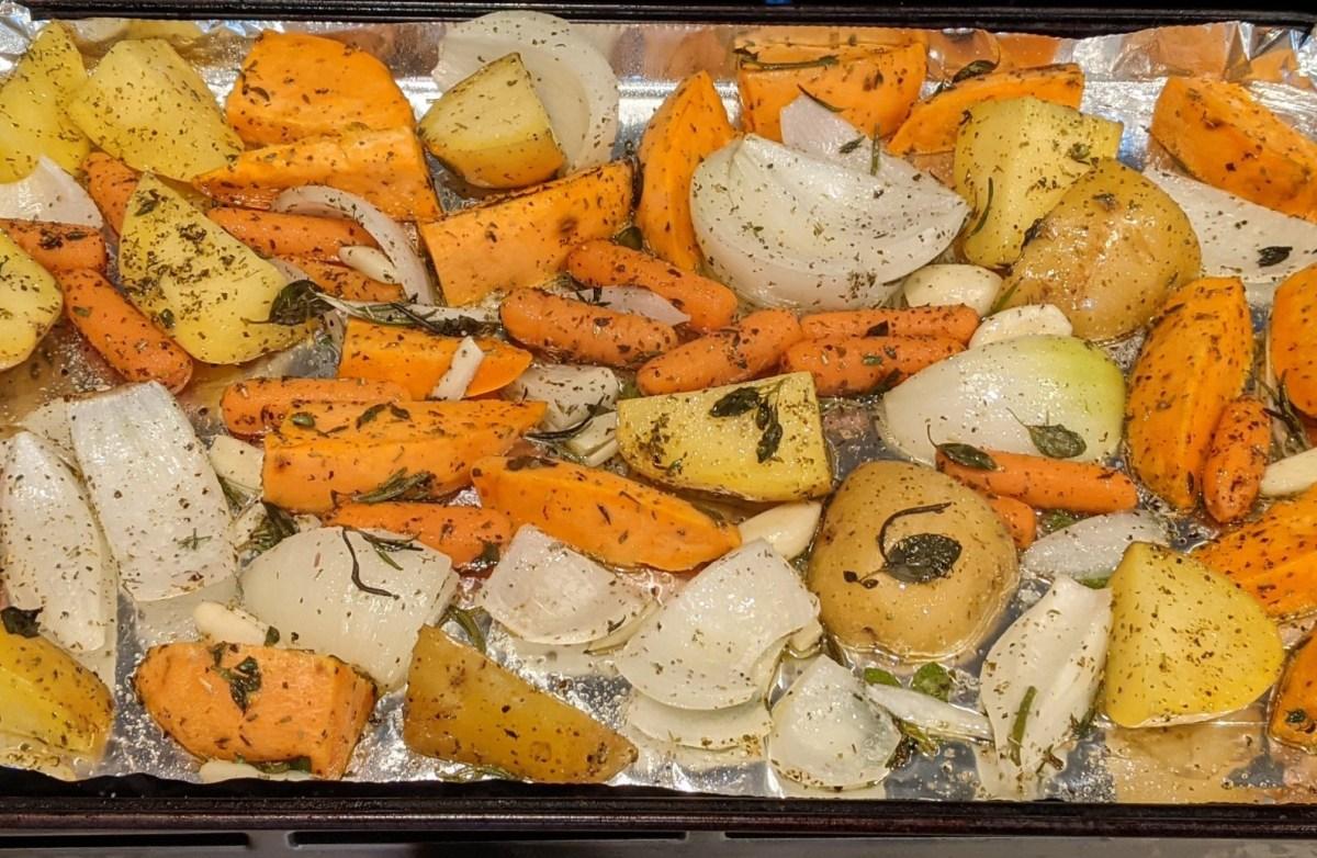 Veggies on baking sheet