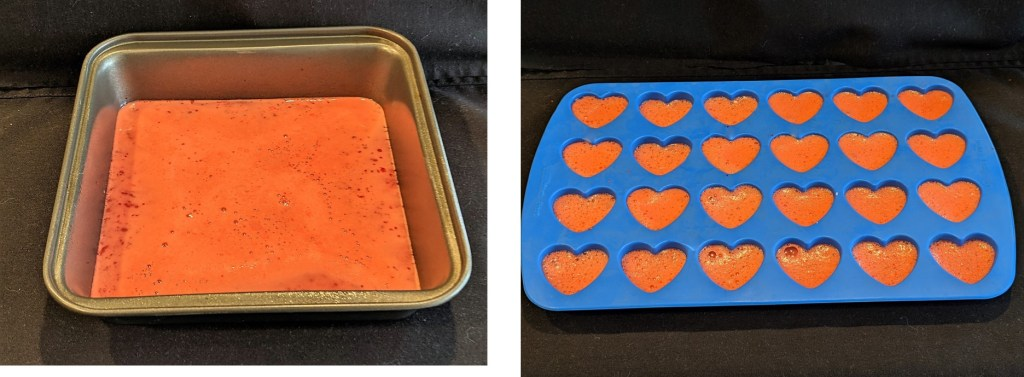 If using a heart-shaped cookie cutter, pour mixture into 9-inch square pan sprayed with cooking spray.  If using a silicone heart mold, spray mold with cooking spray and pour mixture in molds.