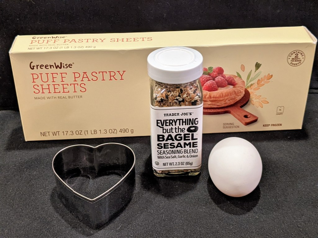 Three ingredients! Puffed Pastry, Seasoning and an Egg.  A heart shaped cookie cutter is perfect for Valentine's Day.