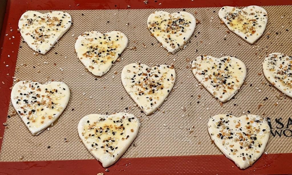 Generously sprinkle seasoning on hearts