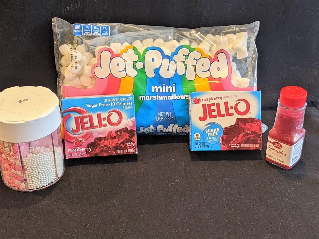 Jell-o Mix, Mini Marshmallows, Sparkles