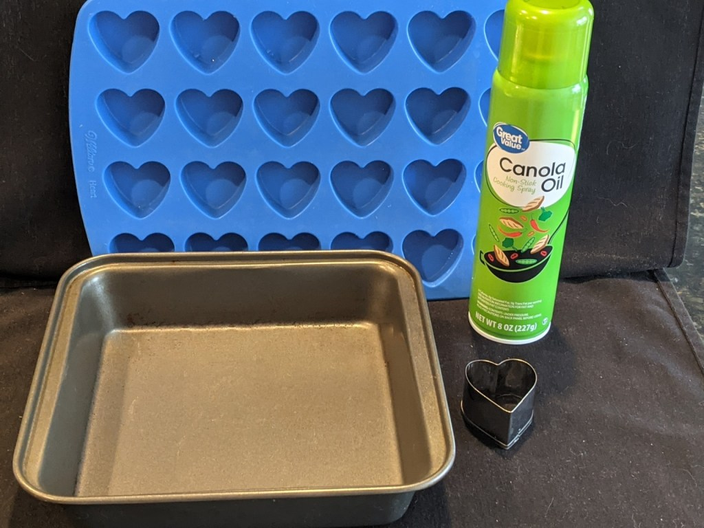 Equipment: Non-stick spray and 9 inch pan and heart cookie cutter OR heart silicon mold.