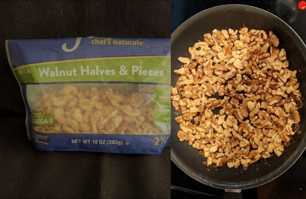 Lightly toast walnuts over medium heat.