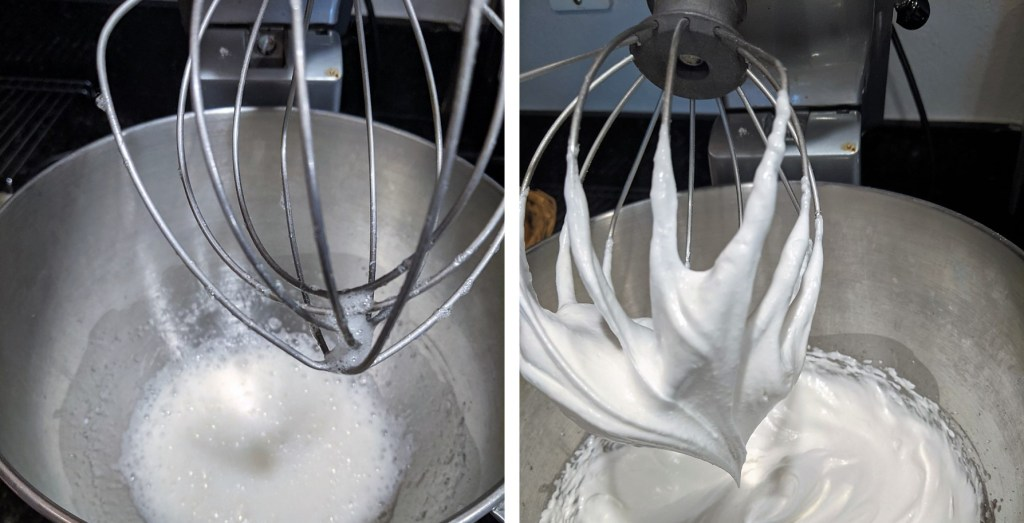Whip eggs white till frothy and add cream of tartar, almond extract and salt.  Continue to whip until stiff peaks form.  Stir in almonds.