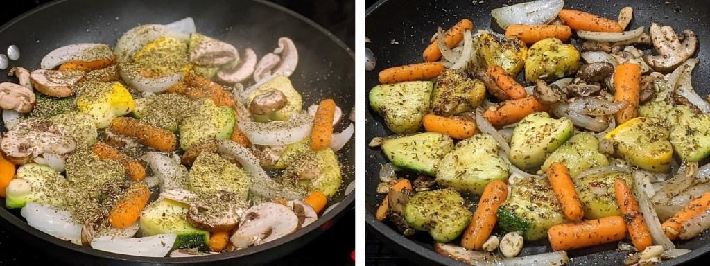 Add seasoning and salt & pepper.  Cook 6-8 minutes.