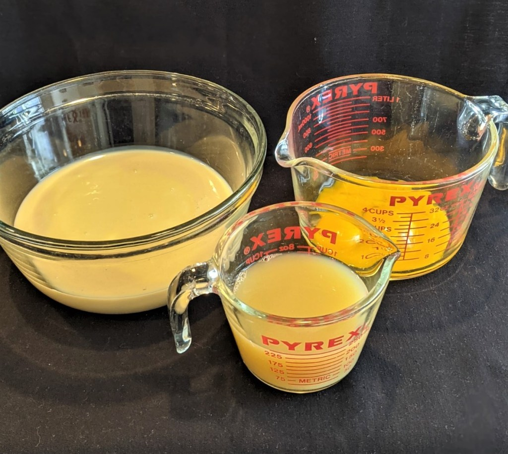 Separate eggs (save egg whites for another recipe), pour condensed milk in a medium bowl and measure out key lime juice.