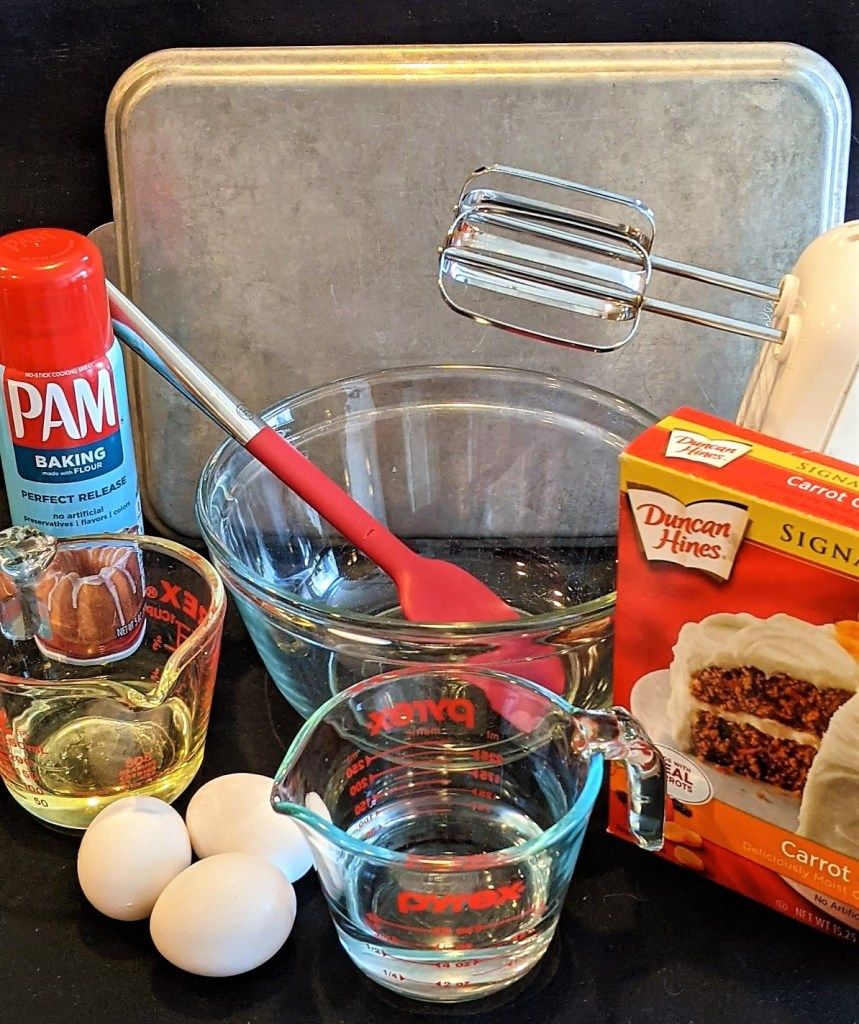 eggs, cake mix and mixer, 9x13 pan, mixing bowl, measuring cup and utensils