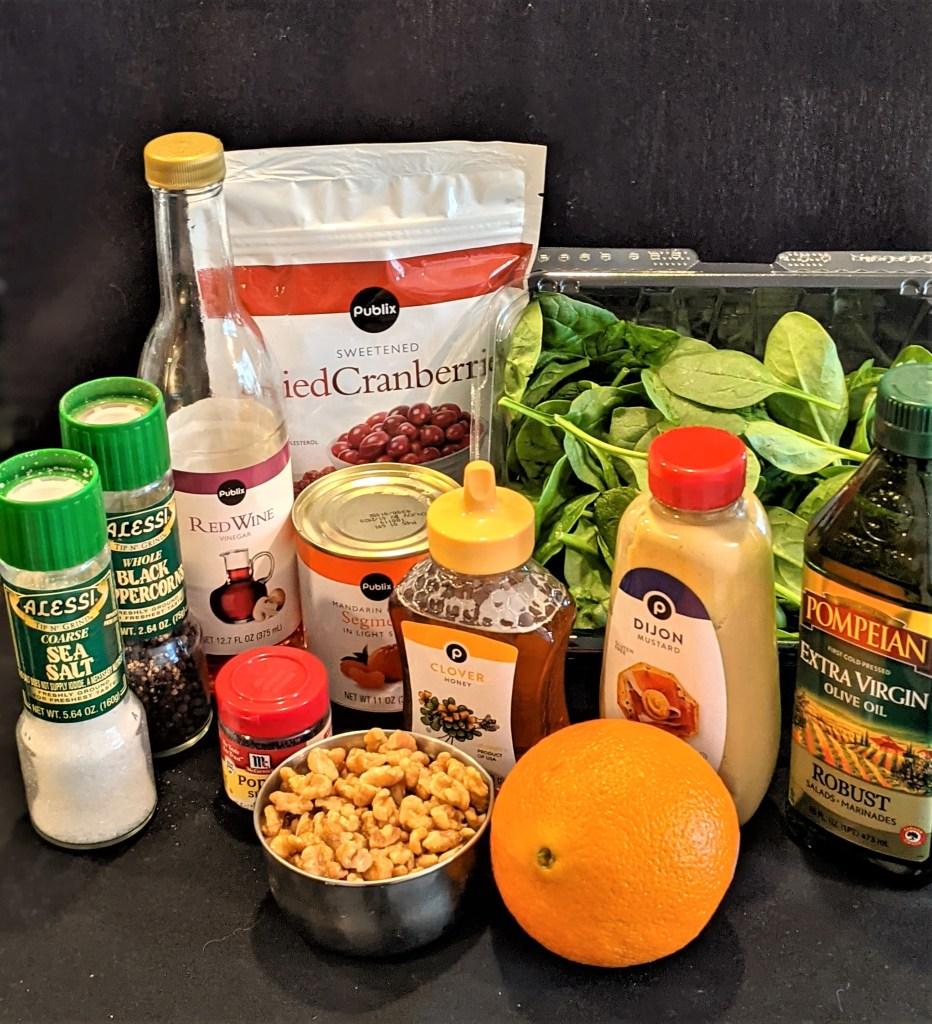 display of salad and dressing ingredients