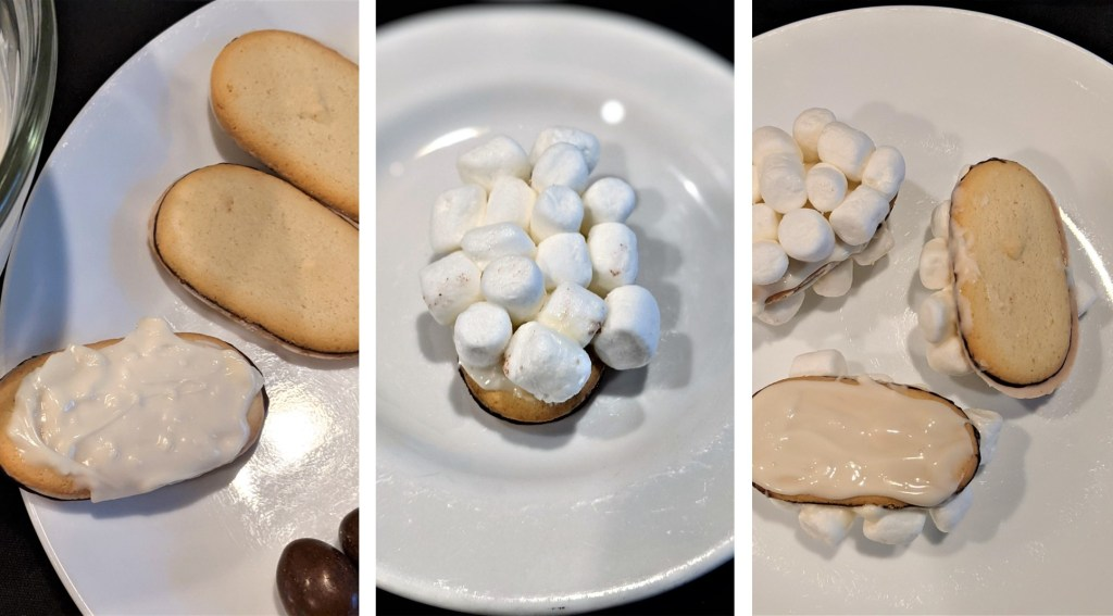 Cookies coated with white chocolate glue and marshmallows