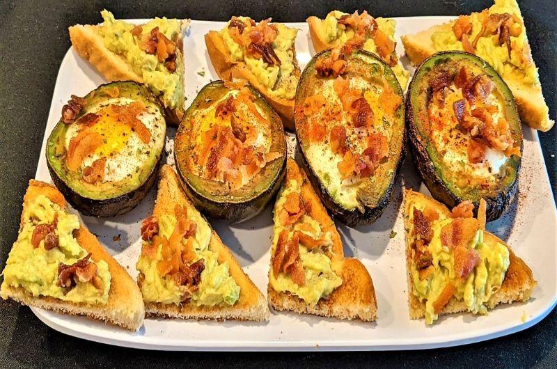 Bacon & Egg Stuffed Avocado with Toast Points