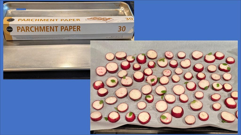 Baking pan with parchment paper and radishes on parchment paper lined pan.