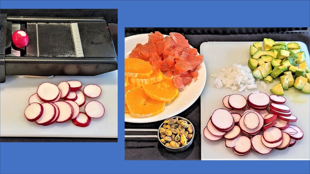 sliced radishes and prepped salad items
