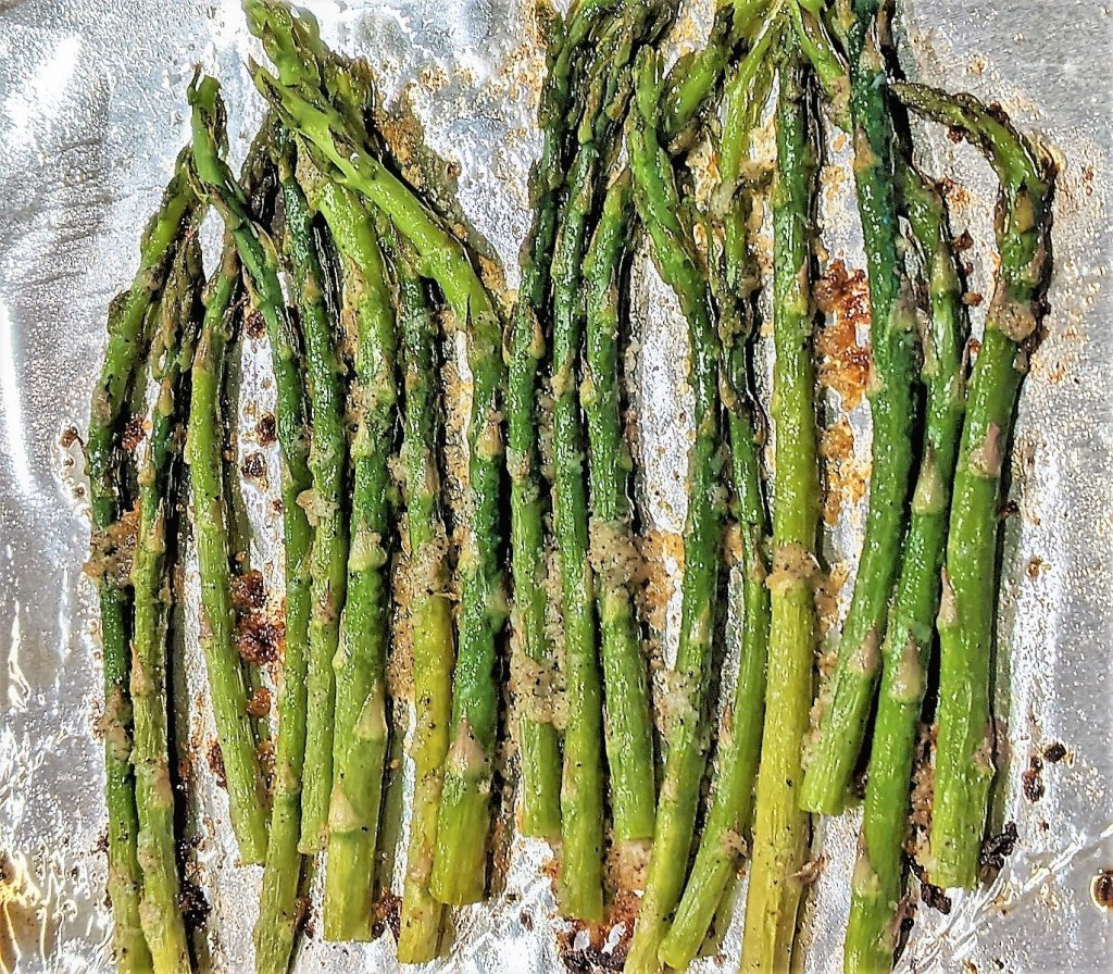 Asparagus with garlic and oil roasted on the sheet pan