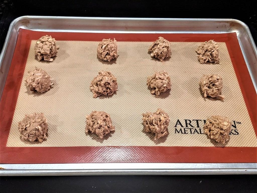 Cookie dough on baking pan