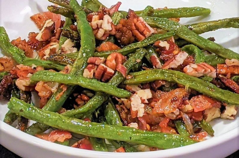 Roasted Green Beans and Bacon