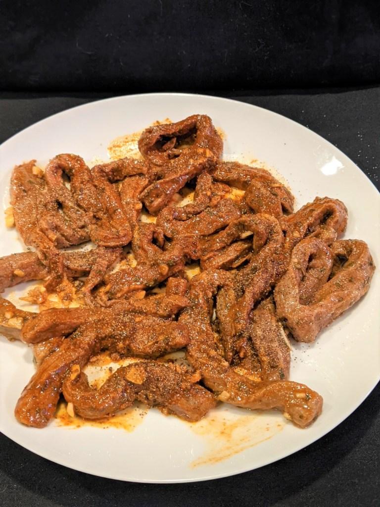 steak strips on a plate