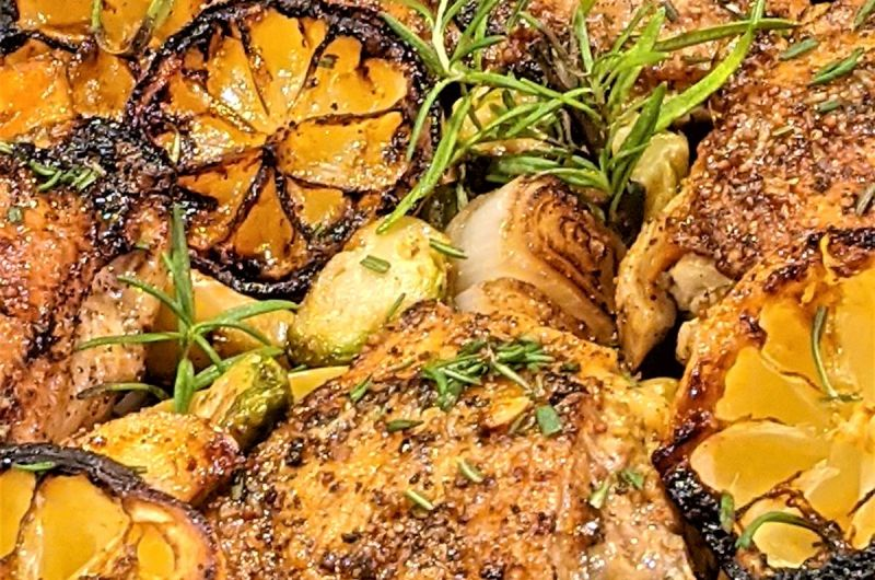 One-Pan Lemon Chicken with Brussels Sprouts and Potatoes