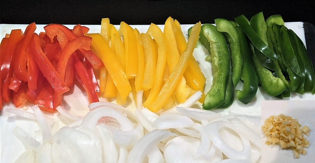Sliced veggies and minced garlic