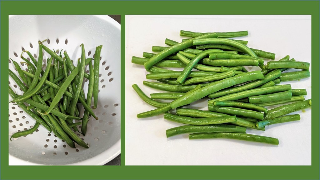 Green beans being prepped