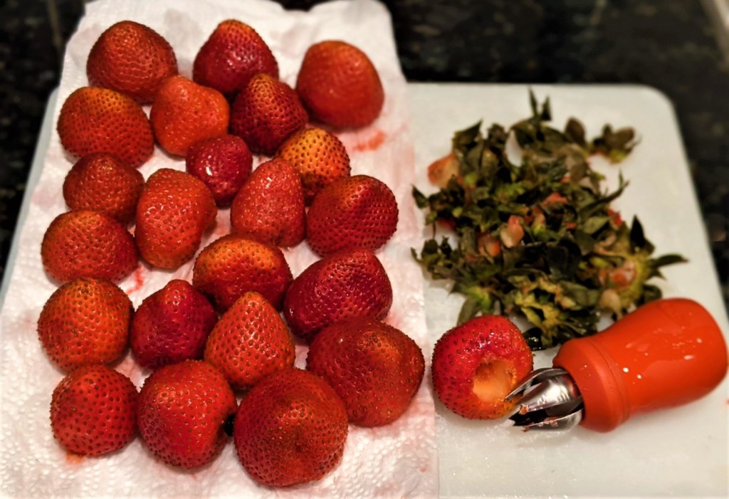 hulled strawberries