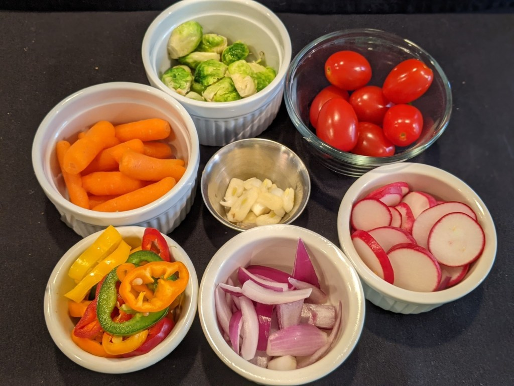 images of prepped veggies