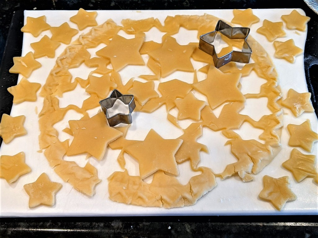 image of pie crust cut into star shapes