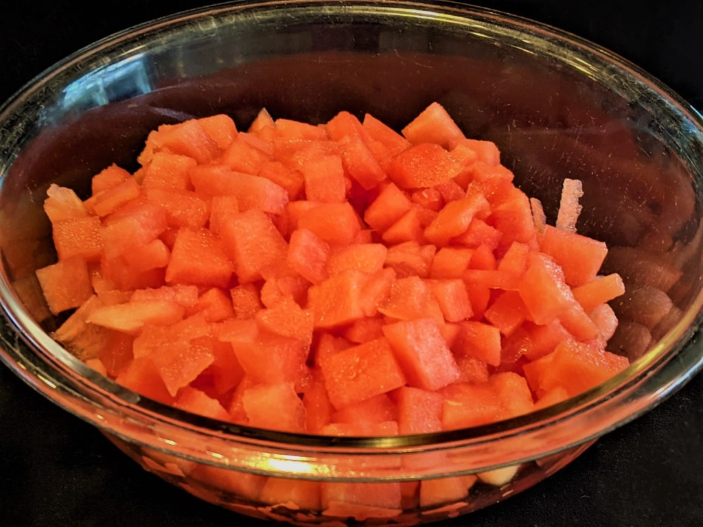 diced watermelon in a bowl