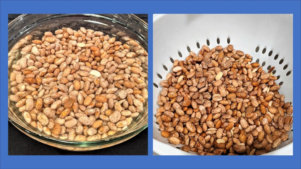 image of beans in a bowl with water and in a colander