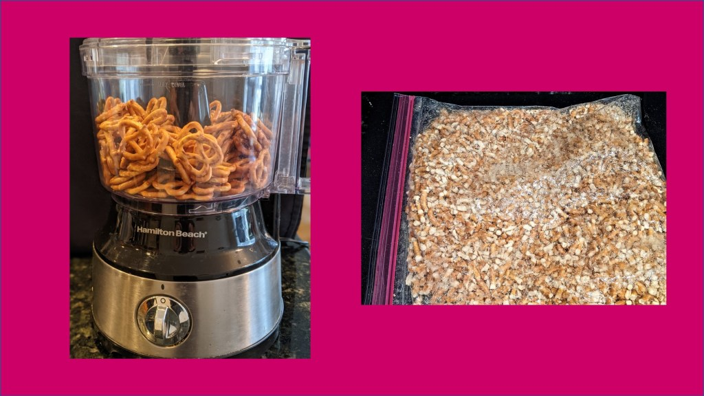 food processor and bag with crushed pretzels