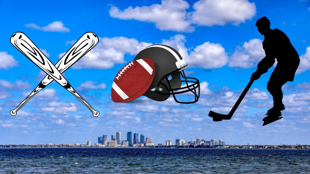 Tampa skyline with sport images