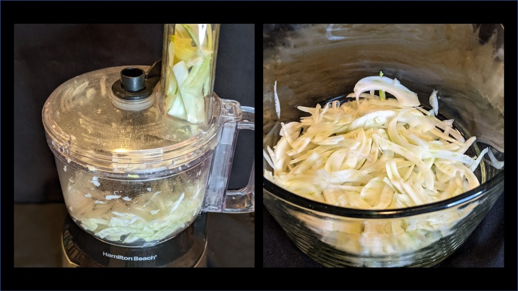 fennel in a food processor and sliced up in a bowl