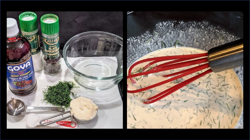 image of dressing ingredients and bowl with whisked dressing
