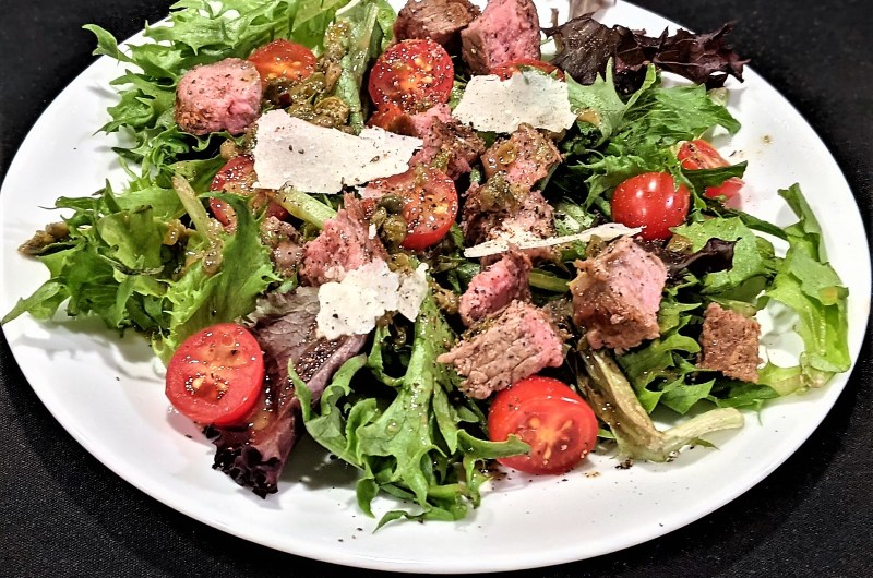 Steak and Spring Mix Salad with Mustard Caper Vinaigrette