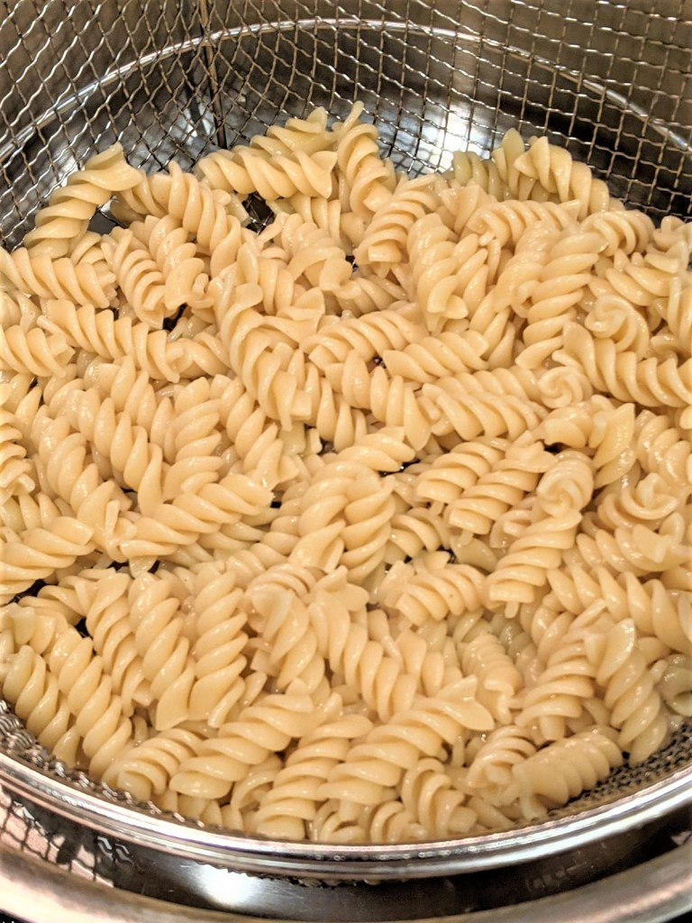 Drained pasta in pot