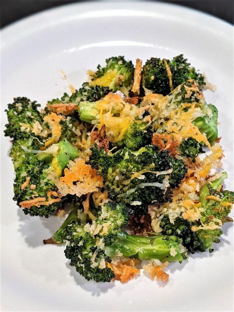 Crispy Cheesy Broccoli on a serving plate