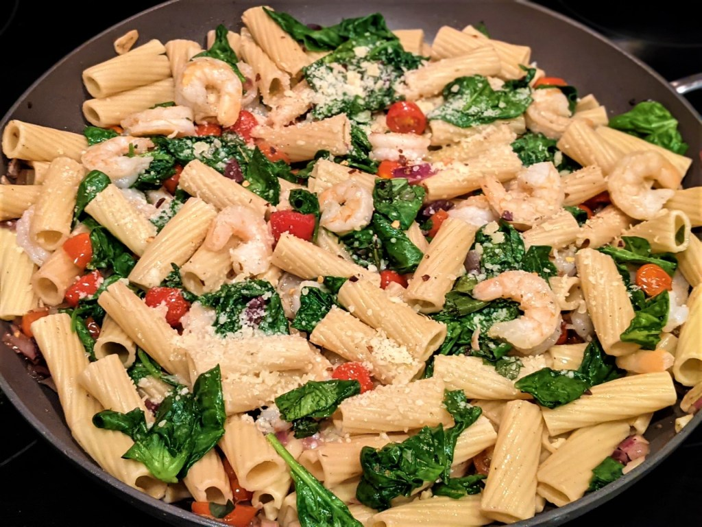 Pasta with grated cheese added