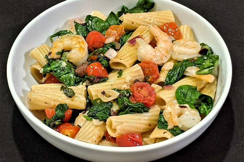 Easy Tomato, Olive, and Spinach Pasta with Shrimp
