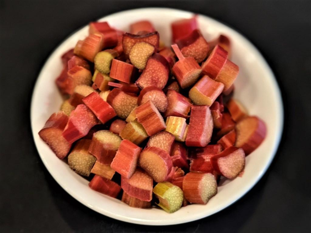 Bowl of chopped rhubarb