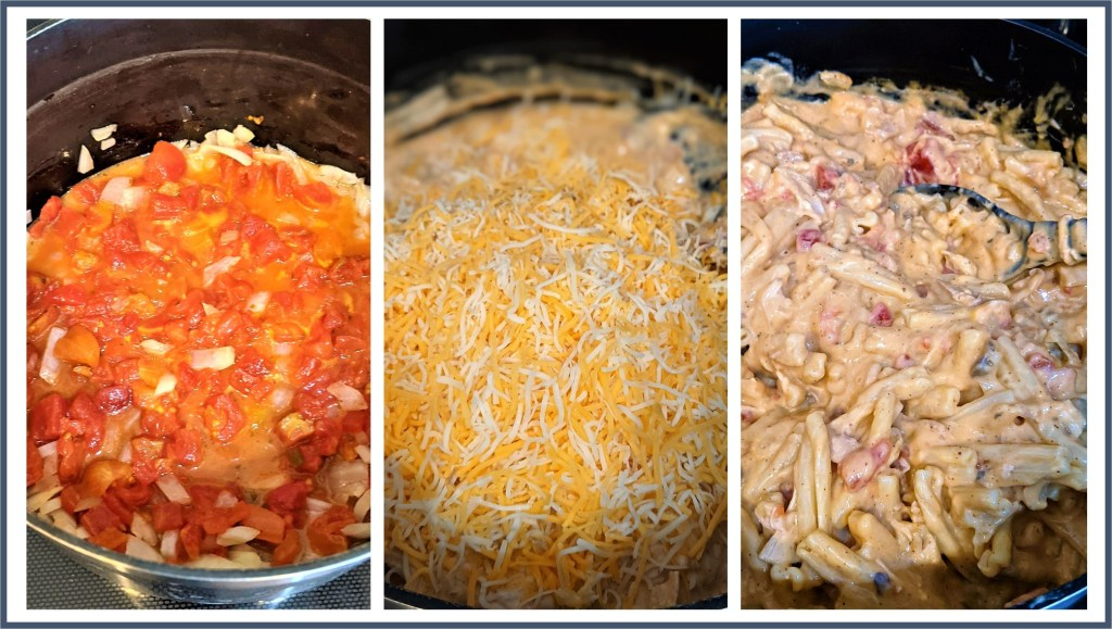 Images of sauce pan with added ingredients