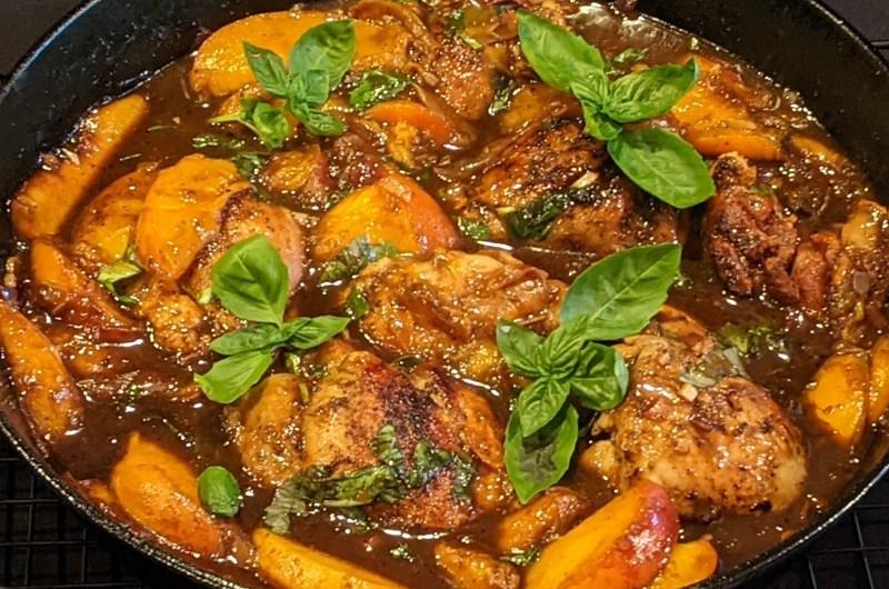 One-Pan Peach Balsamic Chicken