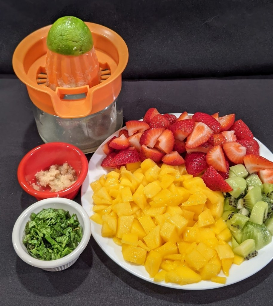 Prepped ingredients in bowls and on a plate