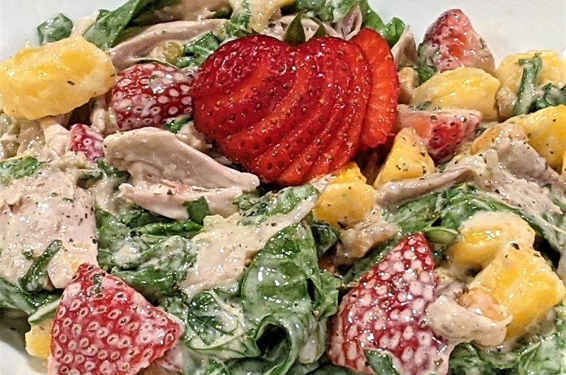 Summer Chicken Spinach Salad