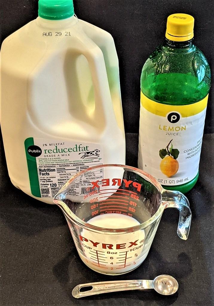 Milk, lemon juice and a teaspoon