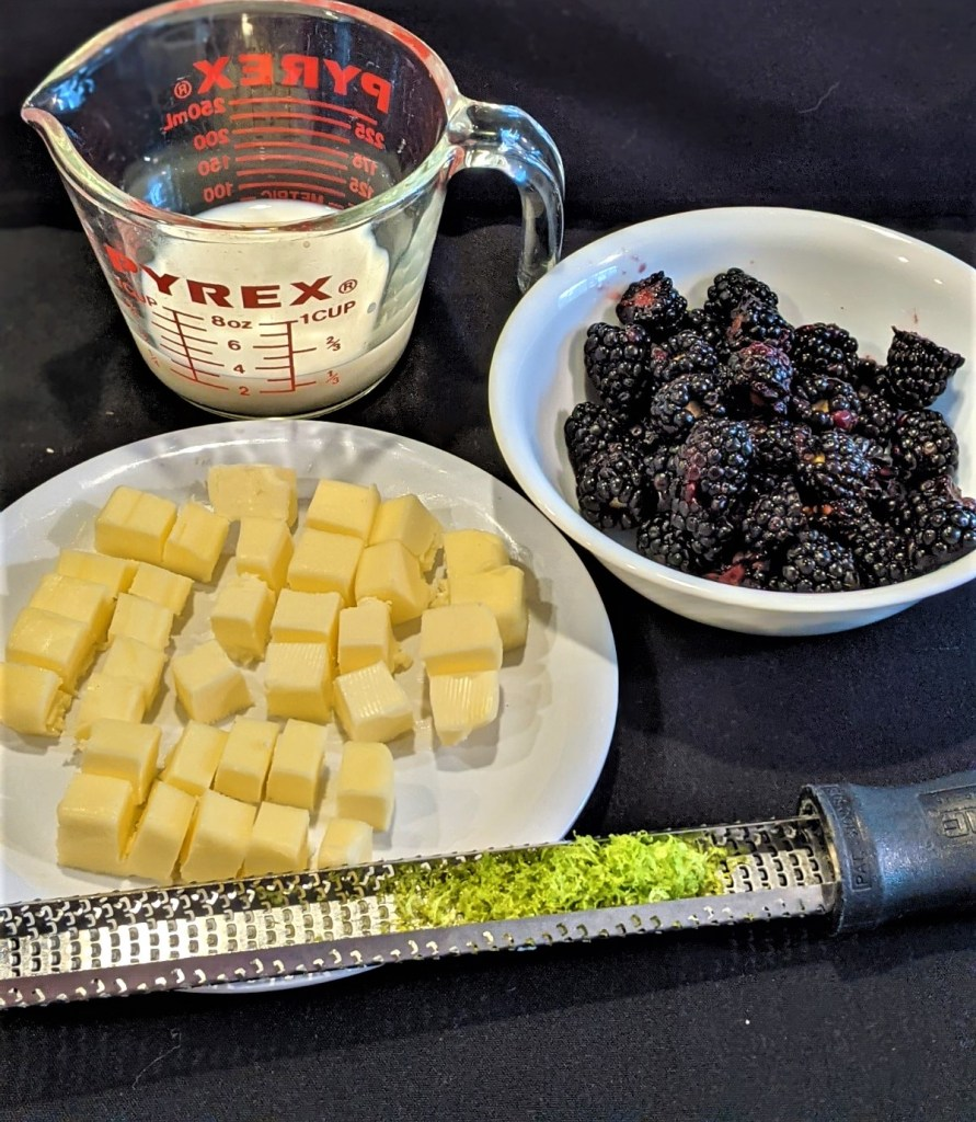 blackberries, lime, butter and buttermilk